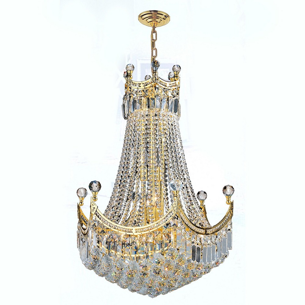 Worldwide Lighting-W83026G24-Empire - 58 Inch Eighteen Light Large Chandelier  Polished Gold Finish with Clear Crystal