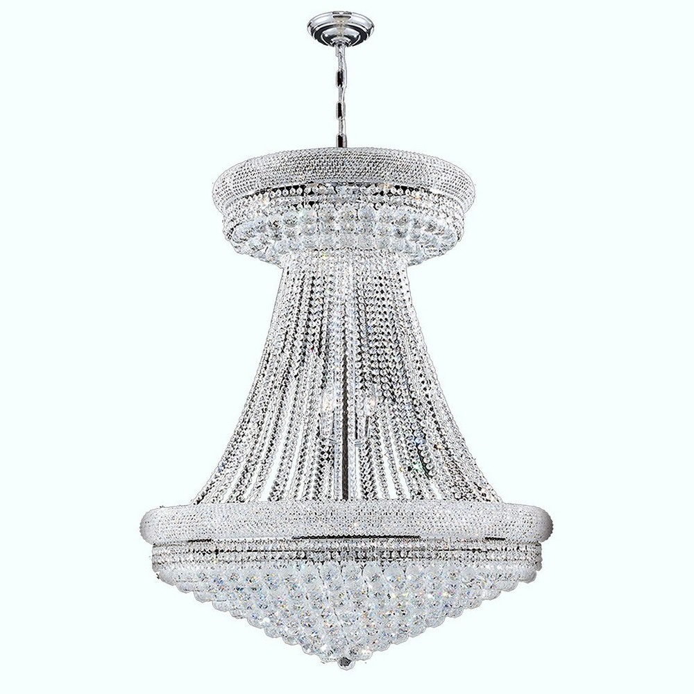 Worldwide Lighting-W83037C36-Empire - 174 Inch Twenty-Eight Light Large Chandelier  Polished Chrome Finish with Clear Crystal
