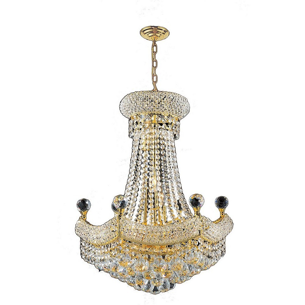 Worldwide Lighting-W83074G20-Empire - 34 Inch Twelve Light Medium Chandelier  Polished Gold Finish with Clear Crystal