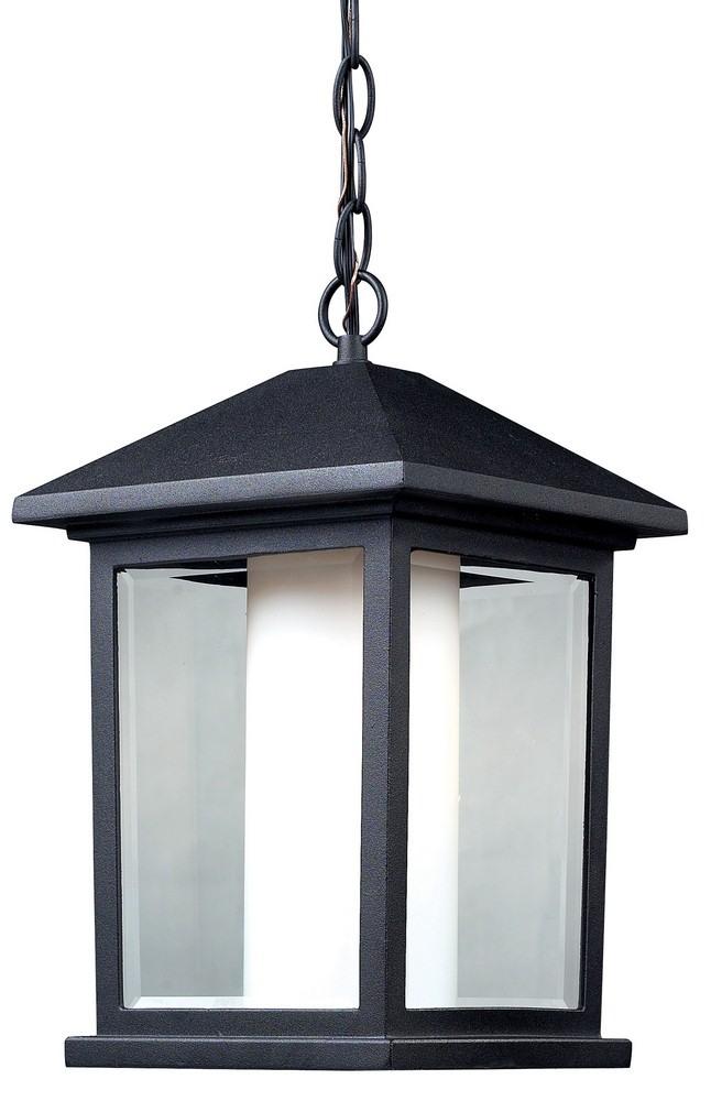 Z-Lite-523CHB-Mesa - 1 Light Outdoor Chain Mount Lantern  Black Finish with Clear Beveled/Matte Opal Glass
