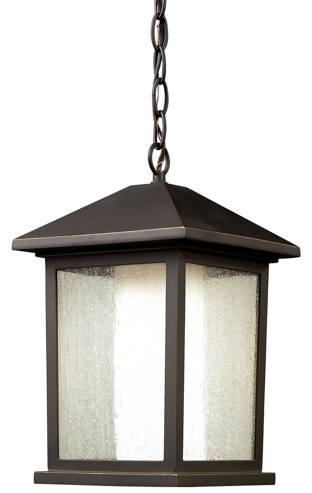 Z-Lite-524CHB-Mesa - 1 Light Outdoor Chain Mount Lantern  Oil Rubbed Bronze Finish with Clear Seedy/Matte Opal Glass