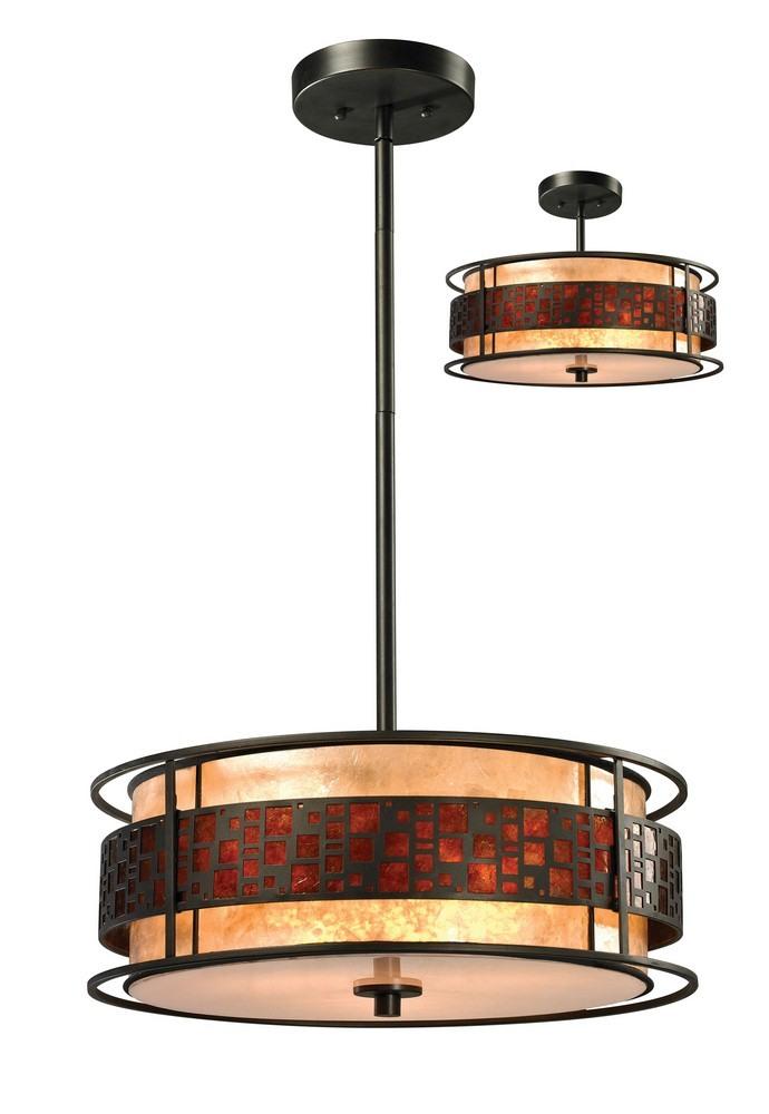 Z-Lite-Z18-50P-C-Oak Park - 3 Light Pendant  Java Bronze Finish with Amber Mica/White Glass