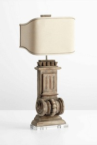 Cyan lighting-05930-Loft - Two Light Table Lamp  Limed Gracewood Finish with Burlap Fabric Shade