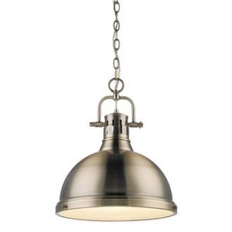 Golden Lighting 3602-L AB-AB Duncan - One Light Pendant