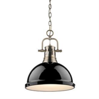 Golden Lighting 3602-L AB-BK Duncan - One Light Pendant