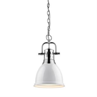 Golden Lighting 3602-S CH-WH Duncan - One Light Mini Pendant