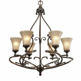 Golden Lighting 4002-6 RSB Loretto 6 Light Chandelier