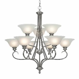 Golden Lighting 6005-9 PW 2 Tier Chandelier