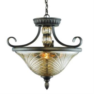 Golden Lighting 8118-SF BUS Alston Place - Three Light Convertible Semi-Flush Mount