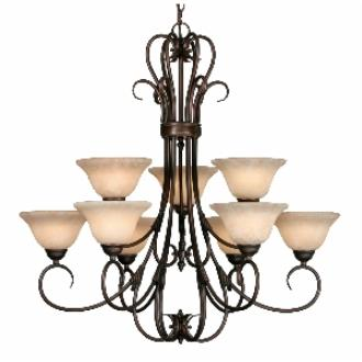Golden Lighting 8606-9 RBZ 2 Tier Chandelier