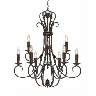 Golden Lighting 8606-CN9 RBZ 9 Light Candelabra Chandelier